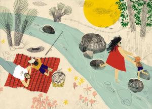 Gewinner-Entwurf des vamos Illustratorenwettbewerbs 2015 von Tina Steinbach (Hochschule für Grafik und Buchkunst Leipzig).