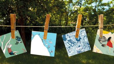 Illustrationen hängen auf einer Wäscheleine.
