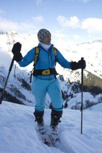 Anna Gross, Gastgeberin im Feuerstein Nature Family Resort im Pflerschtal, auf Skitour