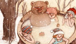 Wellness im warmen Badezuber ist im Winter auch für Kinder schön. Illustration Isabel Seliger