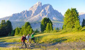 Drei Wanderer im Pustertal in Südtirol vor Bergkulisse