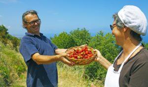 Francesco und Rose Colace mit einem Korb Erdbeeren auf ihrem ökologischen Agriturismo in Kalabrien