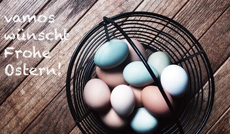 Ein Korb mit Ostereier - vamos wünscht frohe Ostern