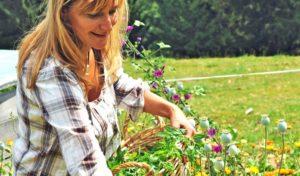 Familienurlaub auf dem Natur Gut Lassen in Kärnten - Gastgeberin Heike Zeilinger sammelt Kräuter für das Bio-Essen