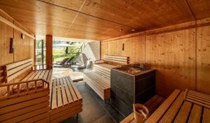 Sauna im Wellnessbereich AlpinSPA des Naturhotel Chesa Valisa